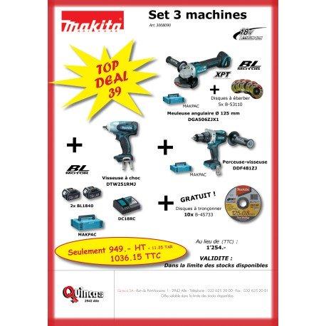 Set de 3 machines + 2 accus + 1 chargeur + 10 disques à tronçonner