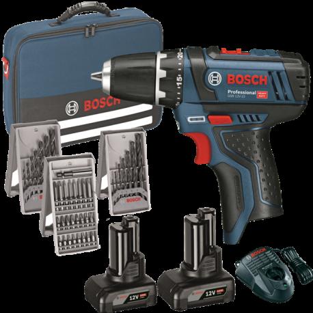 Pack Bosch perceuse visseuse GSR 12V-15 avec coffrets de mèches